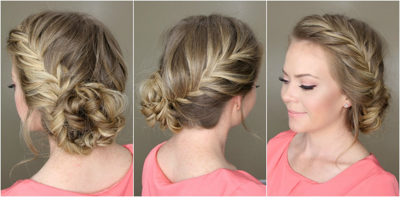 double-fishtail-bun-updo-hairstyles