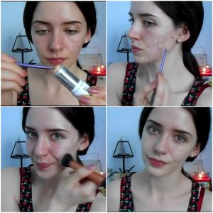 rub-the-derma-blend-foundation-on-your-acne-marks-and-blend-it-using-a-brush