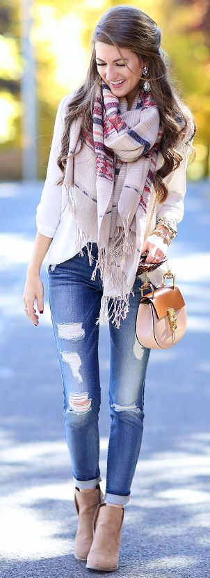 aztec scarf // BP cardigan // white tunic // Lucky wedge booties